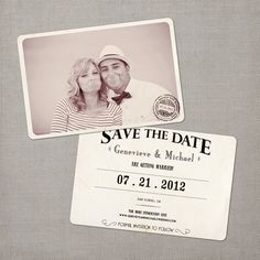 Black and White....Genevieve - Vintage Save the Date Card. $76.00, via Etsy.
