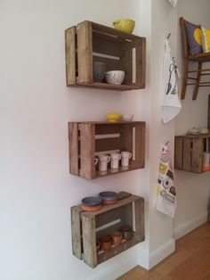 Wood Crate Shelves, Crate Bookshelf, Wood Crates, Small Wooden Crates, Diy Wooden Crate, How To Hang Wooden Crates, Vintage Wooden Crates, Wooden Boxes, Wooden Crate Furniture