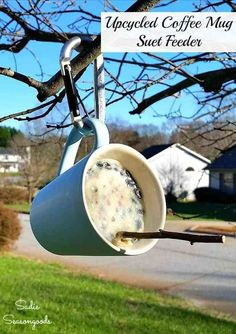 Thrift stores are FULL of coffee mugs, so why not upcycle one into a super easy suet feeder for your birds this winter? Repurposing a coffee cup into a bird feeder has never been easier with this DIY tutorial from Sadie Seasongoods, and it's a great reuse for that chipped mug you haven't gotten rid of yet. Get all the upcycling details at www.sadieseasongoods.com - your backyard wildlife will thank you! #birdfeeder #upcycle #birding #repurpose #wintercrafts #birds #wildlife
