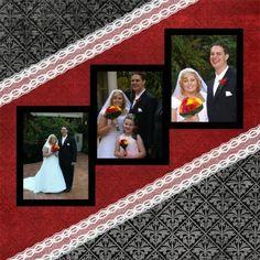 Framed photo display for wedding scrapbook Wedding Scrapbook Pages, Bridal Shower Scrapbook, Paper Bag Scrapbook, Album Scrapbook, Scrapbook Layout Sketches, Scrapbook Templates, Scrapbook Designs, Baby Scrapbook, Scrapbook Supplies
