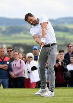 """A year ago, today! Jamie attended the Dubai Duty Free Irish Open - Pro Am Mens Golf Fashion, Mens Golf Outfit, Golf Attire, Jamie Dornan, Golf Clothing Brands, Golf Magazine, Fifty Shades Movie, Look Man, Christian Grey"