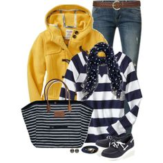 Spring if slicker in stead of pea coat Nautical Clothing, Navy Clothing, Nautical Outfits, Nautical Fashion, Nautical Stripes, Candy Stripes, Spring Summer Fashion, Autumn Winter Fashion, Stripes
