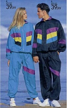 The classic shell suit look, which continued to be popular in the We need to bring this back lol! 1980s Fashion Trends, 80s And 90s Fashion, Retro Fashion, Fashion Outfits, 80s Fashion Party, 80s Trends, Vintage Fashion, Decades Fashion, Fashion Through The Decades