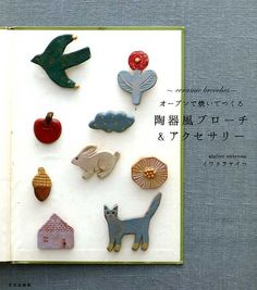"""Polymer Clay Handicraft Book""""Pottery Style Brooch and Ceramic Jewelry, Ceramic Beads, Ceramic Clay, Clay Jewelry, Ceramic Pottery, Jewellery, Polymer Clay Crafts, Diy Clay, Book Crafts"""