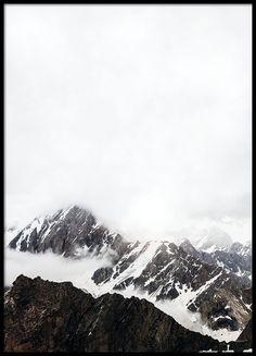 Print with photo art, mountains.