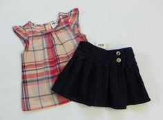 Infant Girls OLD NAVY Plaid Cotton Tank Top Blue Jean Skirt Skort Outfit Size 6…