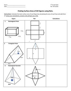 FREE Surface Area and Volume of Prisms Plug and Chug Review ...