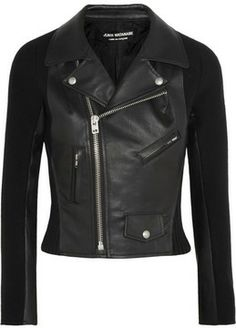 Junya Watanabe Faux leather and wool-blend felt biker jacket on shopstyle.com