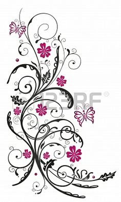 Flowers in pink and black with butterflies