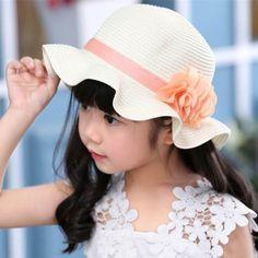 Summer straw sun hats with flower for girls kids bucket hat