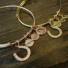 NEW Gold & Rose Gold Horseshoe Bangle Bracelets by Navika Girl.