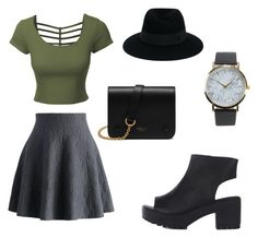 tenue de ville by emma-robion on Polyvore featuring polyvore moda style LE3NO Chicwish Mulberry NLY Accessories Maison Michel fashion clothing
