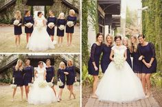 Navy bridesmaid dresses (from Cache), baby's breath bouquet