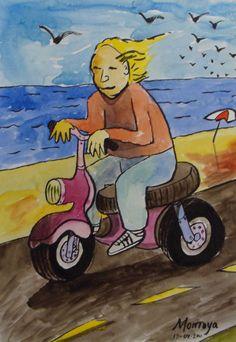 Paseando con el scooter por el malecón. Exposición Museo Arte Moderno de Mazatlán, Sinaloa, México, Noviembre 2011. Juan Montoya López