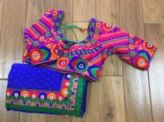 kutchi sari | Beautiful Royal Blue sari with Kutch Border and by AnmolEthnics $145