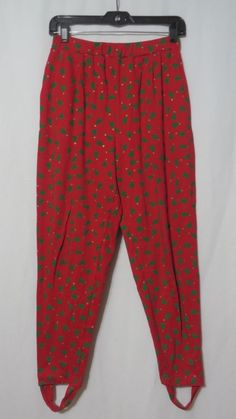 Vintage 80s Ugly Xmas Leggings Stirrup Pants Red Green Trees High Waist M Geek #ChausSport