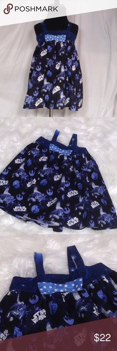 """2T Handmade Tank style Star Wars dress!  NWOT Handmade in my pet and smoke free home.  Seams are professionally finished.  Bow is removable.  100% cotton fabric is pre-washed.  *Handmade sizing differs from ready made.  Length is approx 17.75"""" bodice is approx 9.5"""", has elastic in back, so it will stretch!  Cute with leggings and a tee beneath! Handmade Dresses Casual"""