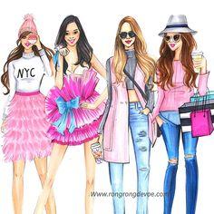 Pink Wednesday say hi to my Pink lovers Fashion Artwork, Fashion Wall Art, Fashion Design Drawings, Fashion Sketches, Drawing Fashion, Fashion Illustration Dresses, Illustration Girl, Fashion Sketchbook, Pink Fashion