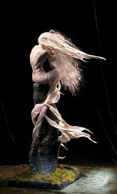 Banshee, or Bean Sidhe — Forest Rogers Ooak Dolls, Art Dolls, Art Sculpture, Wire Sculptures, Abstract Sculpture, Mermaids And Mermen, Clay Art, Iphone Wallpapers, Beautiful Dolls