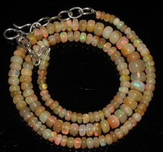 """56 Crts 1 Necklace 4to7mm 16"""" Beads Natural Ethiopian Welo Fire  Opal  63548"""