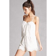 Forever21 Eyelet Cami Romper ($45) via Polyvore featuring jumpsuits, rompers, white, white rompers, forever 21 romper, cotton rompers, cotton camisole and white cut out romper