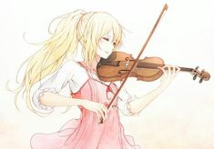 You lie in april. Anime blonde girl playing the violin