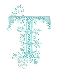 Hand drawn monogrammed print, 8x10, the Letter T, in the color blue