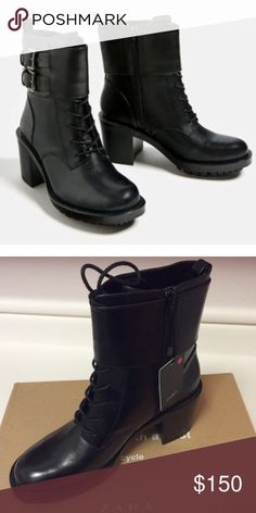 Zara Leather biker bootie  with heel size 9 new Zara Leather biker bootie with heel size 9 new in box! 100% cow leather upper, side buckle detail and lace up over the instep Zara Shoes Ankle Boots & Booties