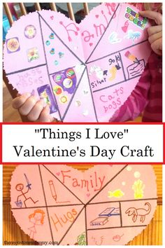 Things I Love Craft Things I Love craft -- fun heart shaped collage craft for kids Looking for a heart craft that really reflects who your child is? This simple Things I Love craft focuses on what makes your child unique.