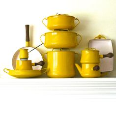 Set of Yellow Kobenstyle dansk cookware, enamelware, pots and pans made in france instant collection local PICK-UP ONLY Enamel Cookware, Cast Iron Cookware, Cookware Set, Pyrex, Pots And Pans Sets, Vintage Enamelware, Vintage Kitchenware, Pan Set, Mellow Yellow