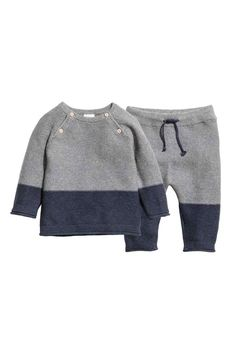 Dark blue& BABY EXCLUSIVE& Set with garter-stitched sweater and pants in organic cotton. Sweater with buttons at top and long raglan sleevesKnitted jumper and trousers - Dark blue/Grey - KidsBaby Girl Clothes - Shop for your baby onlineBoy's New Arri Toddler Pants, Toddler Sweater, Baby & Toddler Clothing, Little Boy Fashion, Baby Boy Fashion, Fashion Kids, Baby Outfits, Kids Outfits, Jumper Outfit