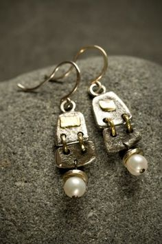 jewelry image of Reticulated silver and 18kt gold hinged earrings, with fresh water pearls.