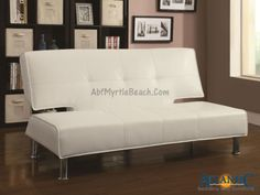 Covered in a silky smooth white leather-like vinyl, this contemporary sofa bed is the perfect place to lounge during the day and accommodate guests at night. The convertible sofa features clean lines, modern chrome legs, and a subtly shaped back for a pop of contemporary style. Tufted seating and welt cords complete the modern vibe. A sturdy wooden frame provides support and durability, while plush padding offers lasting sleep-worthy comfort.
