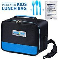 INSULATED LUNCH BOX - PINNACLE Insulated Lunch Bag For Kids, Girls, Boys, Toddlers - Thermal Reusable Lunch Tote - School Lunch Bag With BONUS GEL ICE PACK And MATCHING CUTLERY - 2 Way Zipper - BLUE