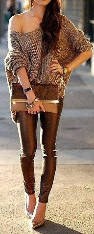 slouchy sweater tight leather pants and heels with a clutch, magnificent