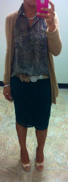 7/31/13:  Forest green lace skirt, w animal print blouse, J crew beige cardigan, NY flower belt,  w/BCBG nude peep toe heels