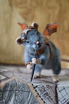 Fantasy | Whimsical | Strange | Mythical | Creative | Creatures | Dolls | Sculptures | Amazing steampunk mouse wool miniature! Needle felted rat Dreamer. Steampunk. Collectible by Fenekdolls