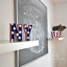 NY & USA stars stripes & chevron hand painted letters. red white & blue home decor. custom painted by www.complimentsfromsarah.com