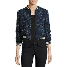 Alice + Olivia Lonnie Embellished Bomber Jacket featuring polyvore, women's fashion, clothing, outerwear, jackets, blue, women's apparel jackets, blue sequin jacket, blue jackets, blue cropped jacket, flight jacket and striped jacket