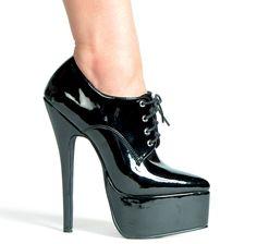"Black 6.5"" Stiletto Heel Oxford Pumps"