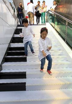 Piano Stairs Make Musical Note Sounds
