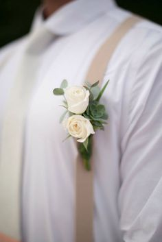 Neutral colors for the groom in a hot climate - a crisp white shirt with suspenders and optional tie. Source: Katherine Stinnett Photography. #groomstyle #suspenders
