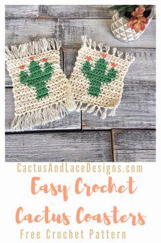 Crochet Simple, Quick Crochet, Crochet Home, Crochet Yarn, Free Crochet, Crochet Coaster Pattern Free, Beginner Crochet, Crochet Kitchen, Crochet Granny