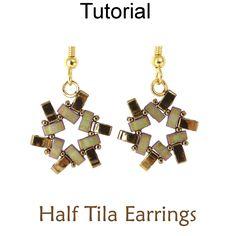 2 Hole Miyuki Half Tila Beaded Earrings Beading Pattern Tutorial by Simple Bead Patterns