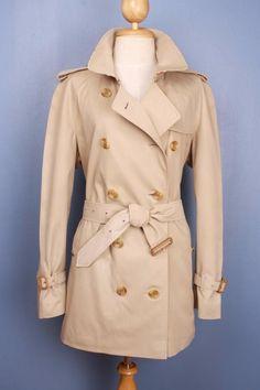 Womens BURBERRY Bespoke Short TRENCH Coat Mac Beige 16/18 L/XL