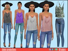 Silk top by ShakeProductions at TSR via Sims 4 Updates
