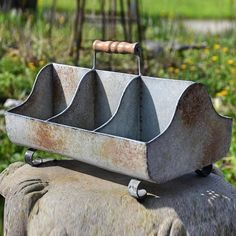 Pierced Bottom Divided Metal Tote