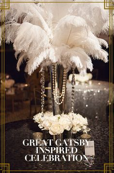 The Colin Cowie Celebrations team put on a lavish affair for this Great Gatsby… Great Gatsby Prom, Great Gatsby Theme, Feather Centerpieces, Wedding Centerpieces, Wedding Decorations, Speakeasy Party, Gatsby Themed Party, 30th Birthday Parties, Anniversary Parties