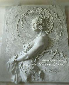Plaster Sculpture, Plaster Art, Sculpture Clay, Koi Art, Engraving Art, Ganesha Art, Angel Pictures, 3d Painting, Mural Wall Art