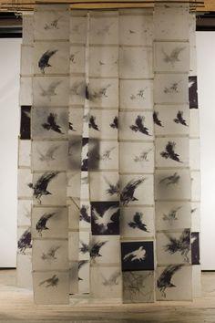 Bird Screen II, Catherine Eaton Skinner, Tibetan Paper/Archival Ink/Encaustic/Thread/Bamboo I like the materials, not the birds Instalation Art, Encaustic Art, Art Plastique, Bird Art, Textile Art, Sculpture Art, Fiber Art, Contemporary Art, Contemporary Printmaking